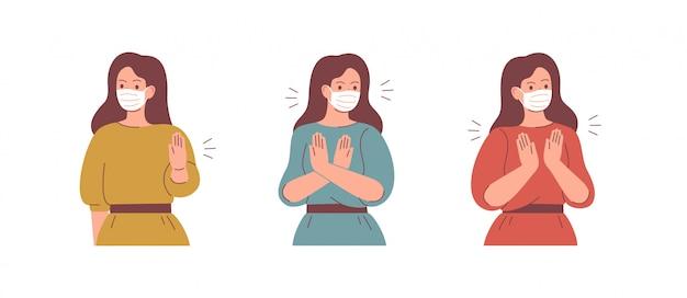 Kobiety Noszą Maseczki I Mówią Stop Gestem. Premium Wektorów