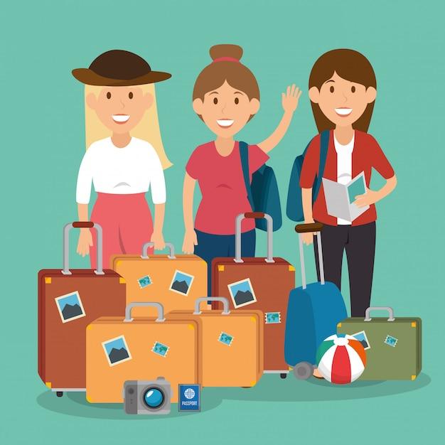 Kobiety podróżujące z walizkami Darmowych Wektorów