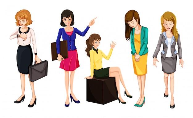 Kobiety Pracujące W Eleganckich Ubraniach Darmowych Wektorów