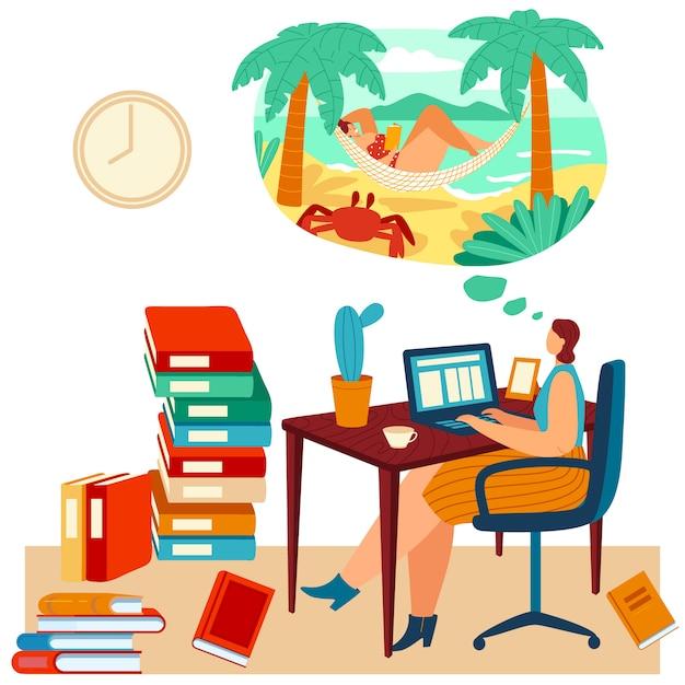 Kobiety Pracy Laptop Ale Marzy O Plaży, Tropikalnej Podróży, żeńskim łgarskim Hamaku, Oceanu Brzeg Na Bielu, Ilustracja. Premium Wektorów