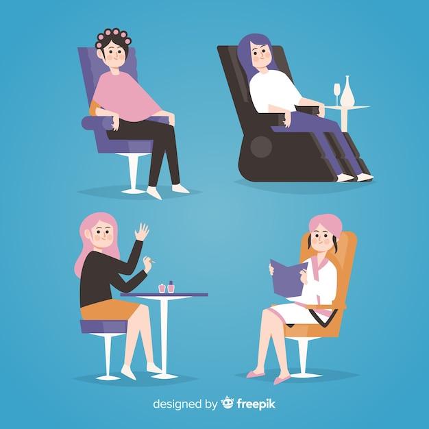 Kobiety siedzące na krzesłach z różnych miejsc na całym świecie Darmowych Wektorów