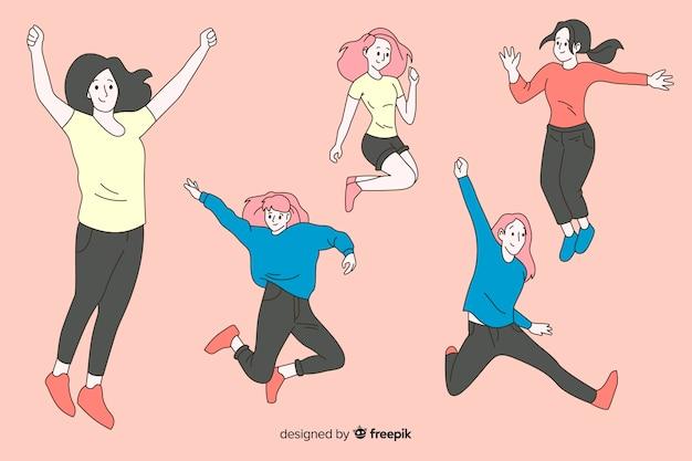 Kobiety Skaczące W Koreańskim Stylu Rysowania Darmowych Wektorów
