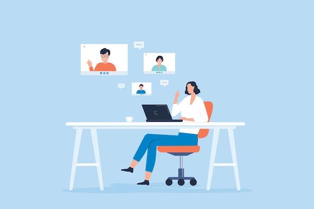 Kobiety Spotkanie Zespołu Wideokonferencji W Biurze Domowym Tabeli Premium Wektorów