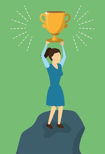 Kobiety sukcesu trofeum biznesowy, mieszkanie styl Darmowych Wektorów