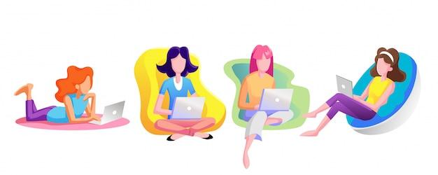 Kobiety swobodnie patrzą na internet za pomocą laptopów. Premium Wektorów