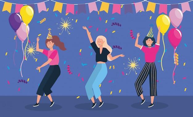 Kobiety tańczą w imprezie i balonach Darmowych Wektorów