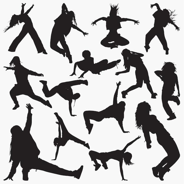 Kobiety taniec uliczny sylwetki Premium Wektorów