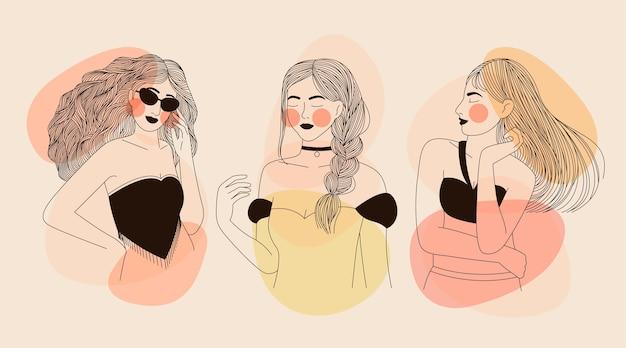 Kobiety W Eleganckim Stylu Graficznym Darmowych Wektorów