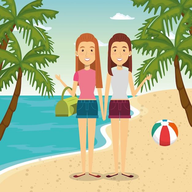 Kobiety W Postaciach Na Plaży Darmowych Wektorów