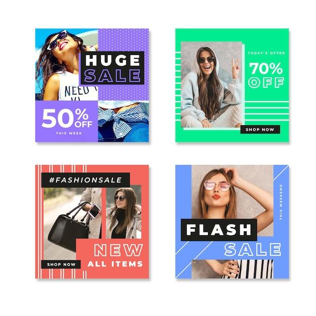 Kobiety W świetle Dziennym Kolorowy Instagram Sprzedaży Post Darmowych Wektorów