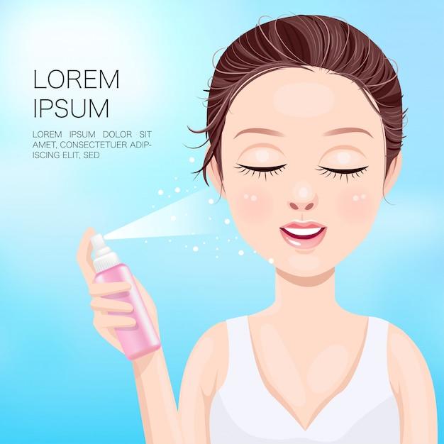 Kobiety wstrzykują spray do twarzy Premium Wektorów