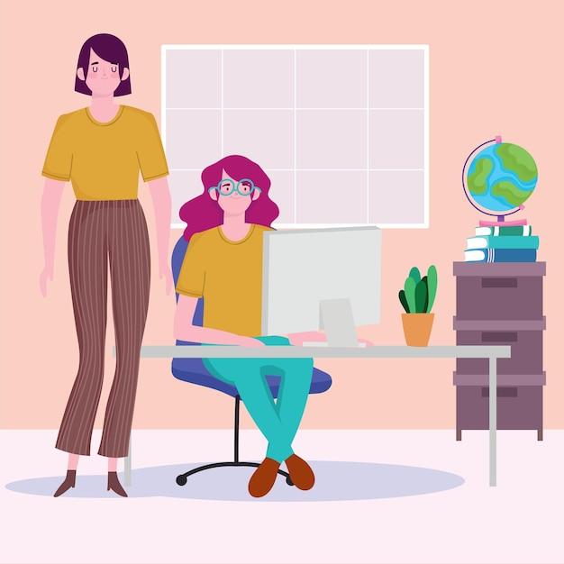 Kobiety Z Komputerem W Miejscu Pracy Biurka, Ludzie Pracujący Ilustracja Premium Wektorów