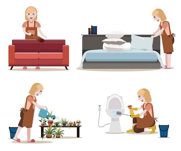 Kobiety ze sprzętem do czyszczenia Premium Wektorów
