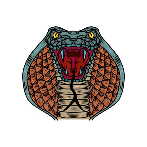 Kobra Ilustracja Węża W Stylu Tatuażu Starej Szkoły. Element Na Logo, Etykietę, Znak, Plakat, Koszulkę. Ilustracja Premium Wektorów