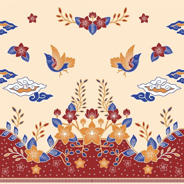 Kochaj batik ptaka Premium Wektorów