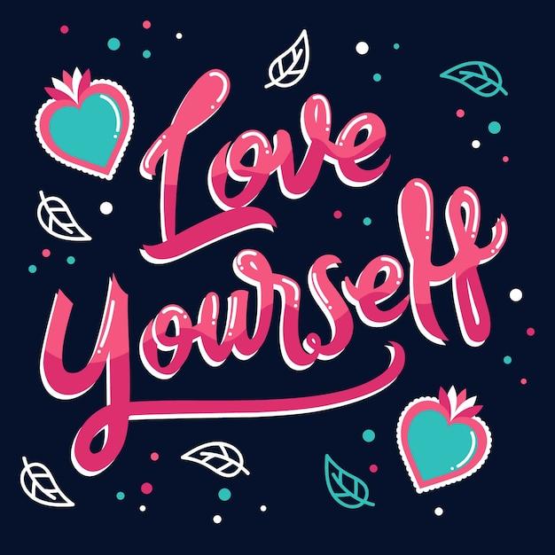 Kochaj Siebie Literami Z Serca I Liści Darmowych Wektorów