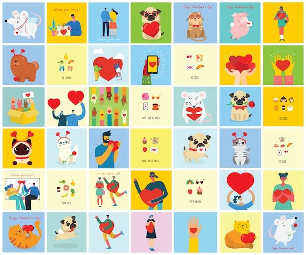 Kocham Cię Bardzo. Valentine Ręcznie Rysowane Doodle Wstępnie Wykonane Logo W Stylu Cartoon I Płaskiej Konstrukcji. Premium Wektorów