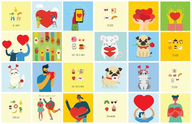Kocham Cię Bardzo. Valentine Ręcznie Rysowane Doodle Wstępnie Wykonane Logo W Stylu Kreskówki I Nowoczesnej Płaskiej Konstrukcji. Premium Wektorów