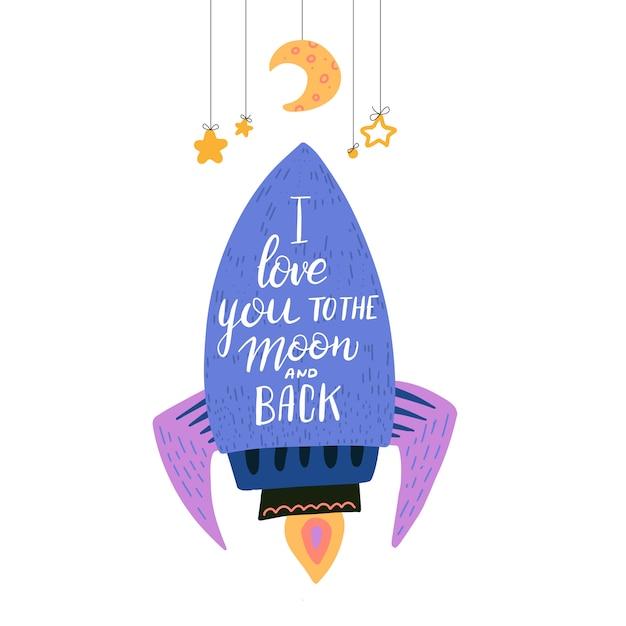 Kocham cię do księżyca i ilustracji z powrotem Premium Wektorów