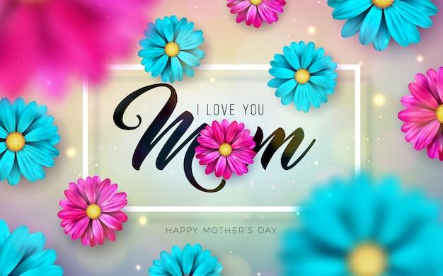 Kocham Cię Mamo. Projekt Karty Z Pozdrowieniami Szczęśliwy Dzień Matki Z Spadające Kolorowe Kwiaty I List Typografii Darmowych Wektorów
