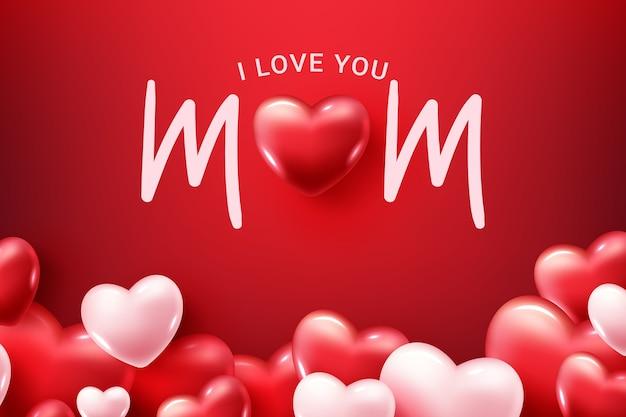 Kocham Cię Mamo! Szczęśliwego Dnia Matki! Kartka Z życzeniami Darmowych Wektorów