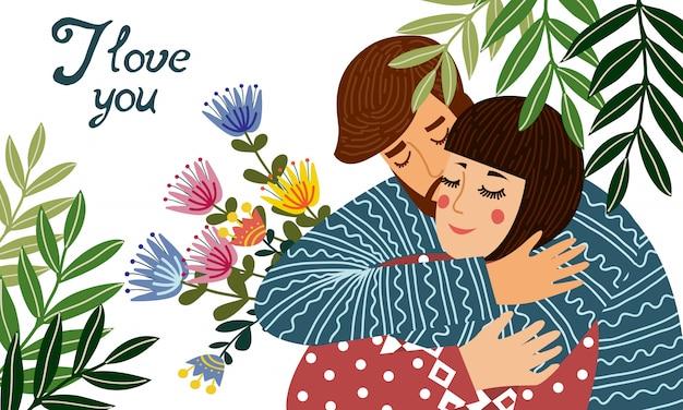Kocham Cię. Mężczyzna Przytula Kobietę, Trzymając Prezent - Bukiet Z Kwiatami. Uroczy Premium Wektorów