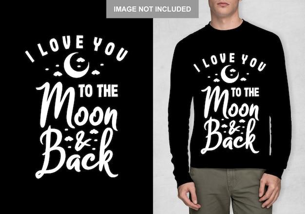 Kocham Cię ... Na Księżycu I Plecach Premium Wektorów