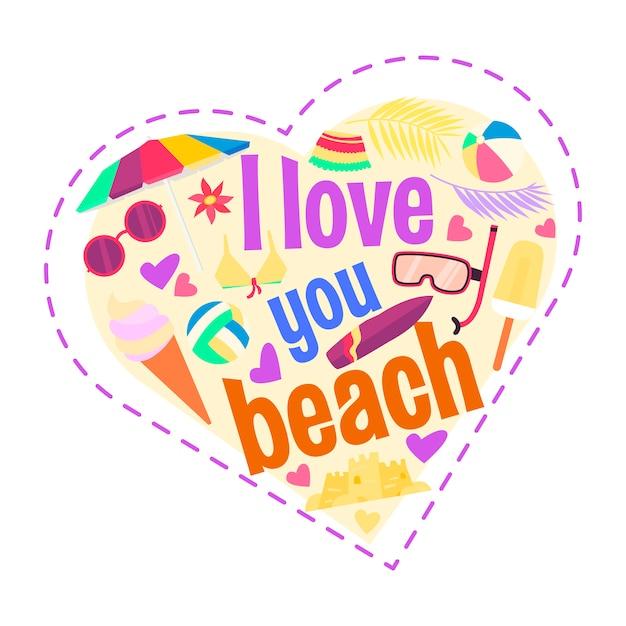 Kocham cię na plaży. kształt serca kreskówki Premium Wektorów