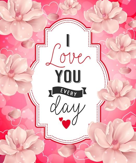 Kocham Cię Napis Z Kwiatami Premium Wektorów