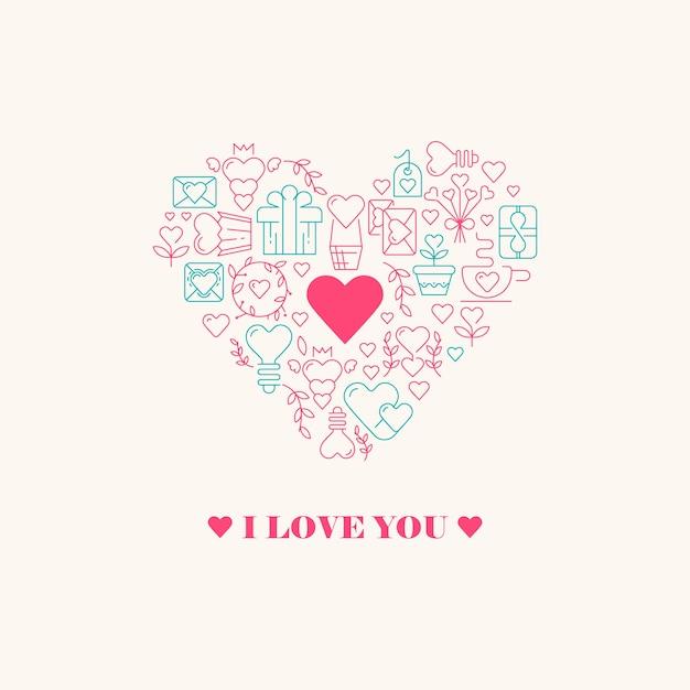 Kocham Cię Plakat Z Trzema Słowami, Wielkim Sercem W środku Z Małym Serduszkiem W środku I Wieloma Pięknymi Ilustracjami Wektorowymi Darmowych Wektorów