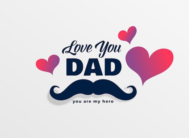 Kocham cię tata szczęśliwy dzień ojca pozdrowienia tło Darmowych Wektorów