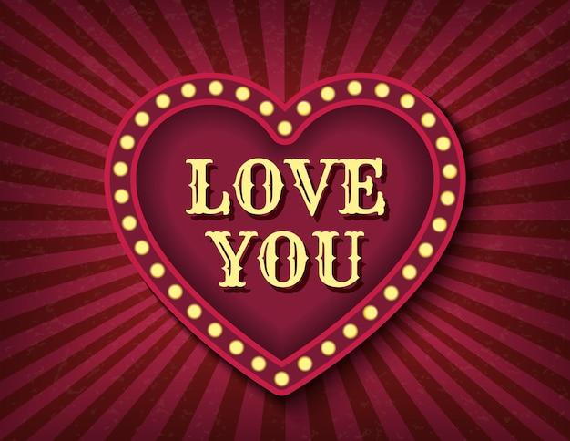 Kocham Cię. Walentynki Cyrkowy Styl Pokaż Szablon Transparent. Jasno świecące Serce Neon Kino Retro. Premium Wektorów
