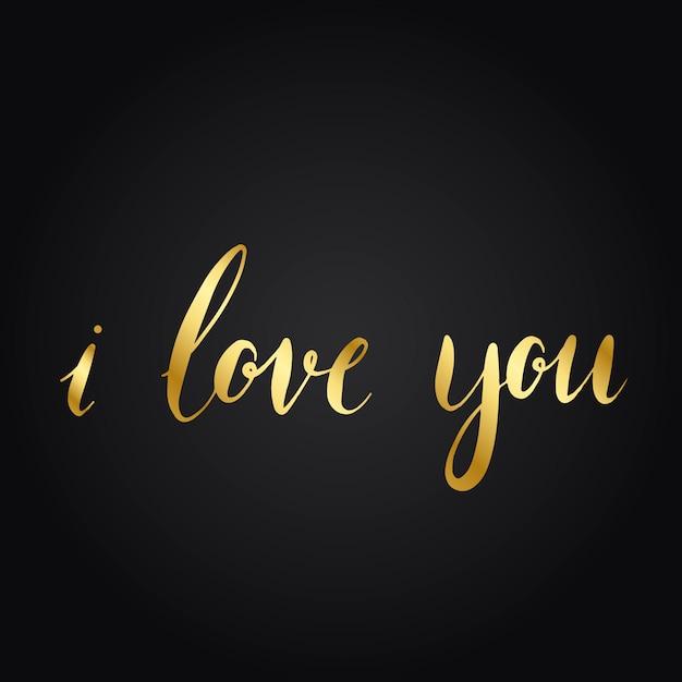 Kocham cię wektor w stylu typografii Darmowych Wektorów