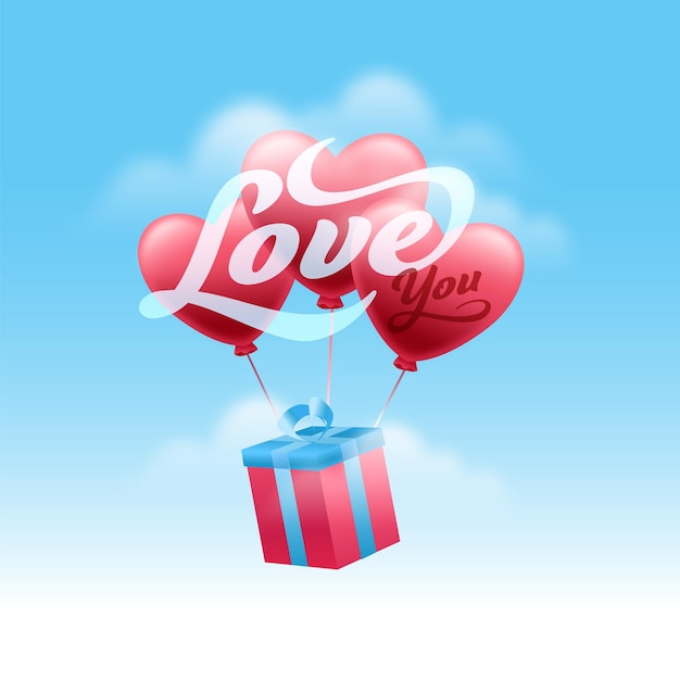 Kocham Cię Wiadomość Czcionki Z Pudełkiem 3d I Balonami Serca Na Błyszczącym Niebieskim Tle Nieba. Premium Wektorów