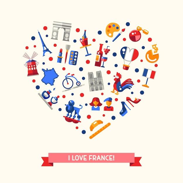 Kocham Francję Z Zabytkami I Słynnymi Francuskimi Symbolami Premium Wektorów