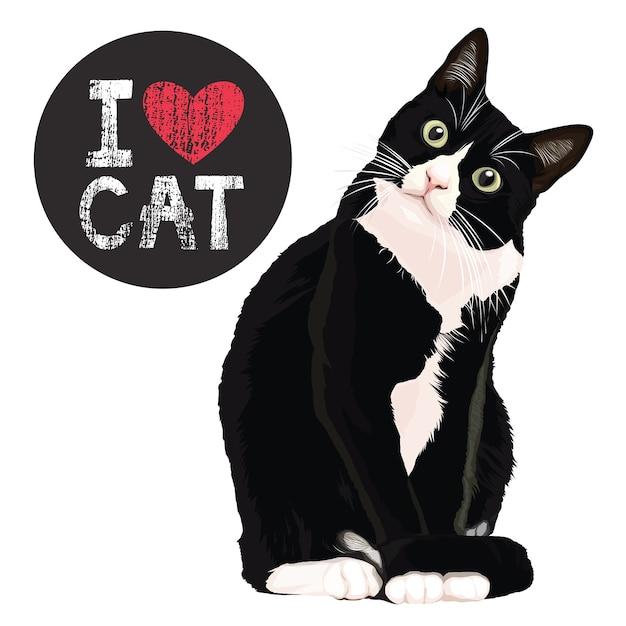 Kocham kota Premium Wektorów