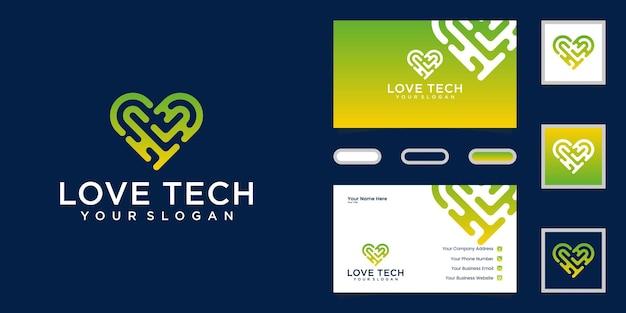 Kocham Logo Technologii I Wizytówkę Premium Wektorów