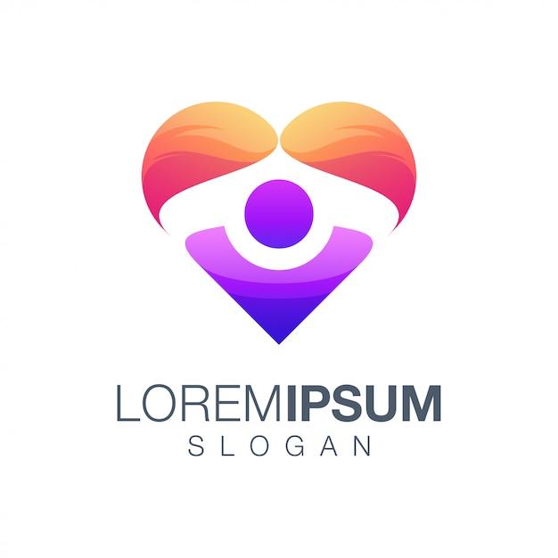 Kocham ludzi projekt logo kolor gradientu Premium Wektorów