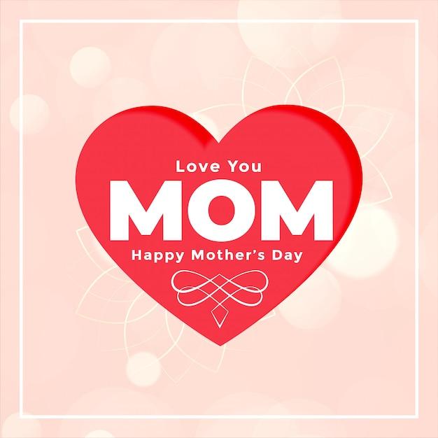 Kocham Mamę Serce-karta Na Szczęśliwy Dzień Matki Darmowych Wektorów