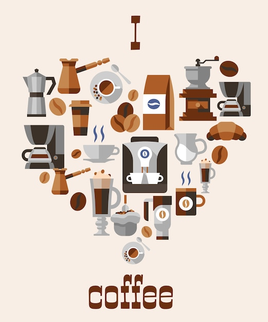 Kocham pojęcie kawy Darmowych Wektorów