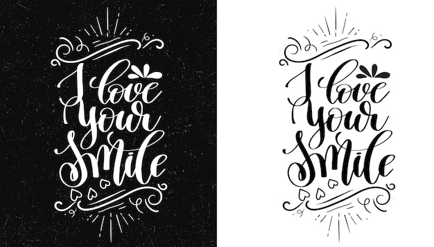Kocham Twój Uśmiech. Inspirujący Cytat. Ręcznie Rysowane Ilustracji Premium Wektorów