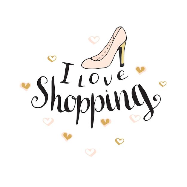 Kocham Zakupy. Cytat Moda Na Projekt Blogu. Wektor Strony Napis. Premium Wektorów