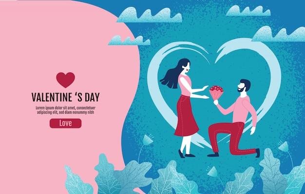 Kochankowie trzyma kwiaty w atmosferze miłości, walentynka dzień, miłość, wektorowa ilustracja. Premium Wektorów