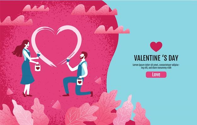 Kochankowie wpólnie malują kierowego kształt. walentynka dzień, miłość, wektorowa ilustracja. Premium Wektorów
