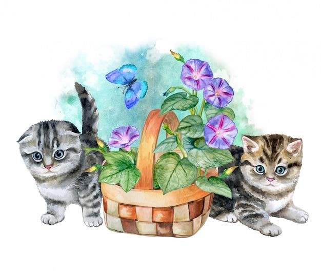Kocięta i kosz kwiatów. akwarela. ilustracja Premium Wektorów