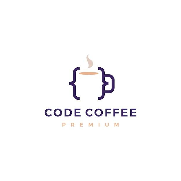 Kod kawy kawiarnia kubek szkło ilustracja logo Premium Wektorów