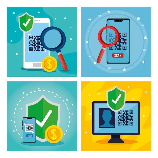 Kod Qr Wewnątrz Smartfonów Lupe Osłona I Komputerowy Wektorowy Projekt Darmowych Wektorów