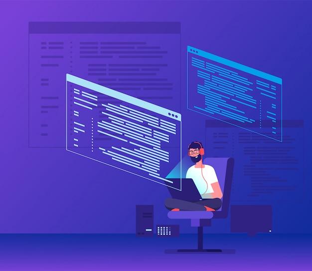 Kodowanie Programatora. Freelancer Młody Człowiek Pracuje Na Kod Programu Z Laptopa. Geek Kodowanie Oprogramowania Wektor Koncepcji Premium Wektorów