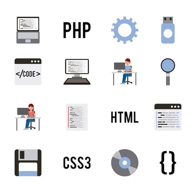 Kodowanie Programu Ustawia Ikony Języków Internetowych Premium Wektorów