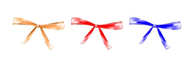 Kokarda kolor czerwony, złoty, niebieski na białym tle Premium Wektorów